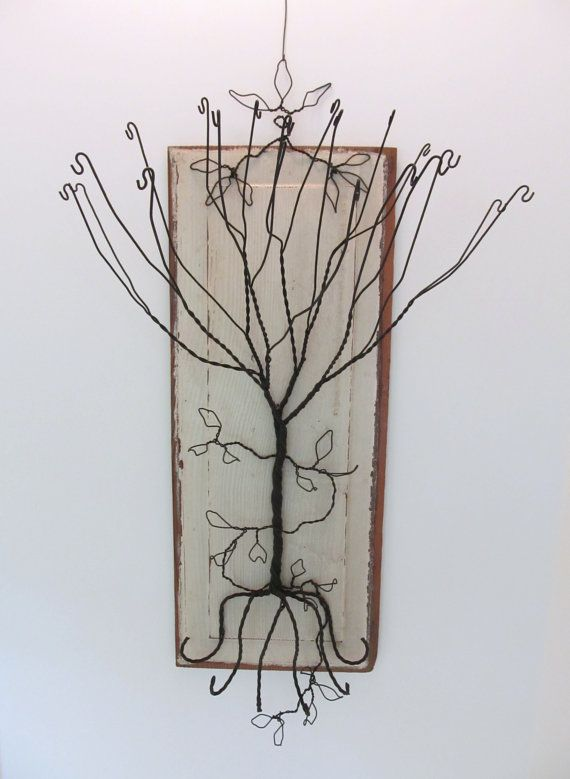 Original vintage wood panel and wire collage JEWELRY HOLDER for your wall