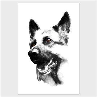 Köpekli - Alman Çoban Köpeği Kendin Tasarla - Kanvas Tablo 60x90 cm Dikey
