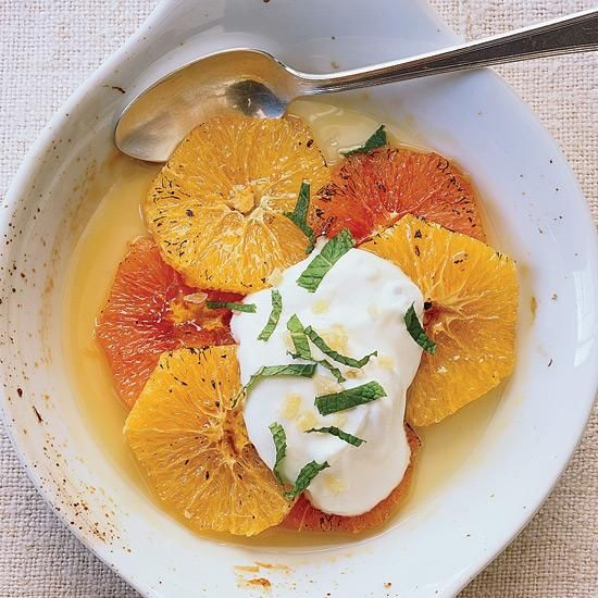 Gingered Orange Gratin   Vitamin C-rich oranges may reduce levels of stress hormones and lower blood pressure. Grace Parisi mixes cold whipped crème fraîche with candied ginger, then spoons it over warm, sweet orange slices. The combination of flavors, textures and temperatures is magnificent.