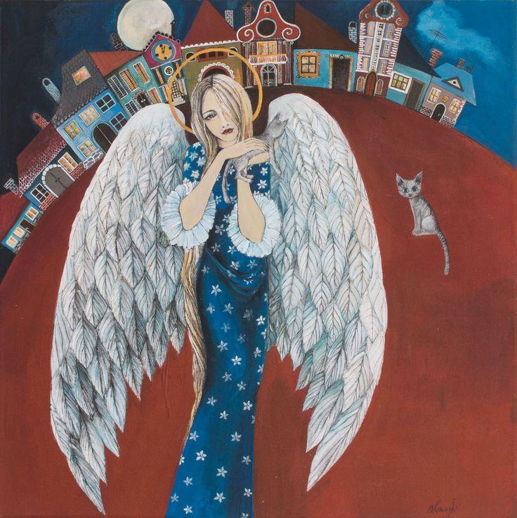 """Ręcznie malowany Anioł """"W Miasteczku"""". Obraz namalowałam farbami akrylowymi na płótnie. Wymiary obrazu: 40 cm x 40 cm."""