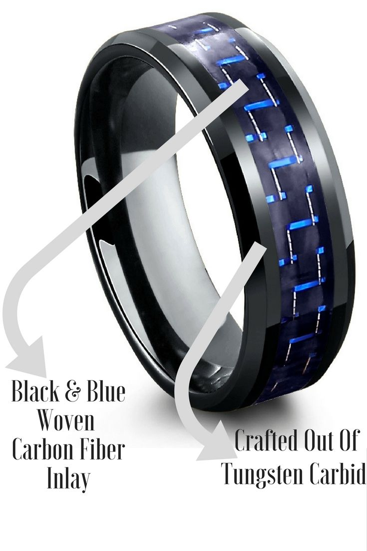 Mens black tungsten wedding band with a black and blue woven carbon fiber inlay. I love the colors of this mens wedding band.
