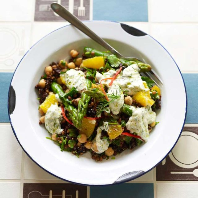 Zesty Lentil, Chickpea and Orange Salad with a Yoghurt Dressing prima.co.uk