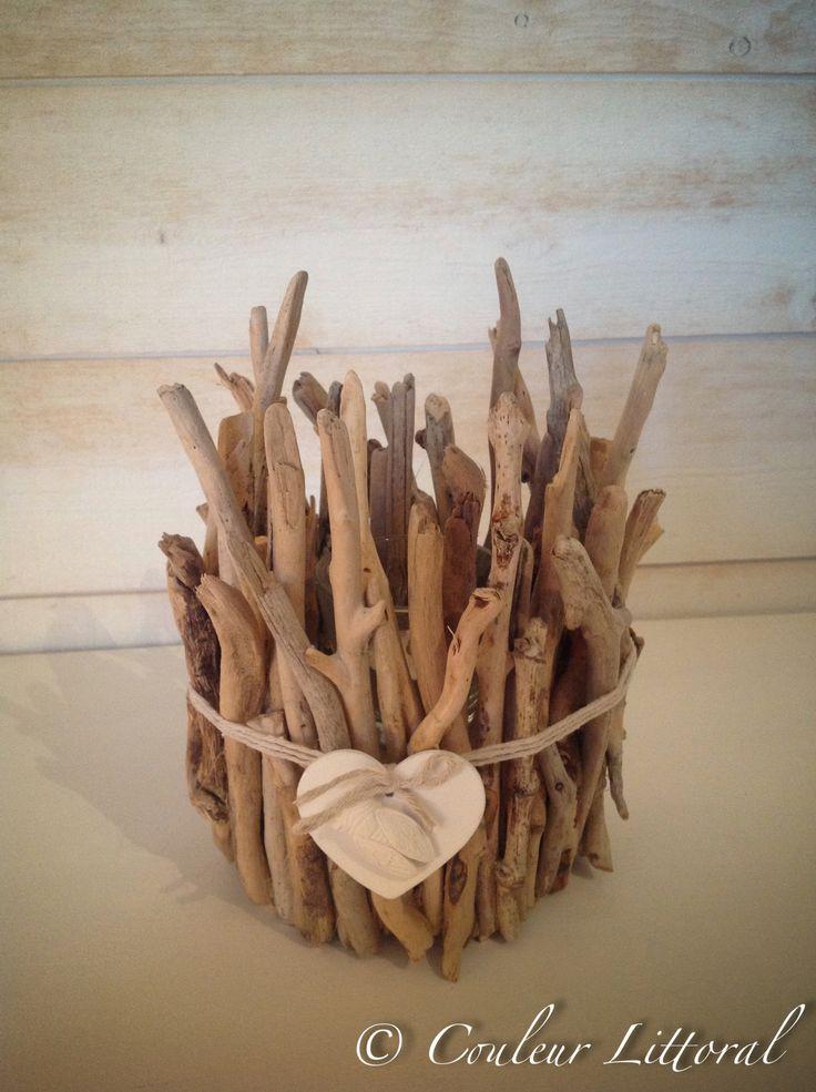 Photophore bois flotté avec coeur & cigale                                                                                                                                                                                 Plus