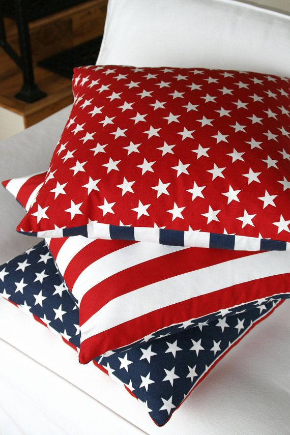 American Flag Pillow Cover 20x20 Patriotic by ChloeandOliveDotCom