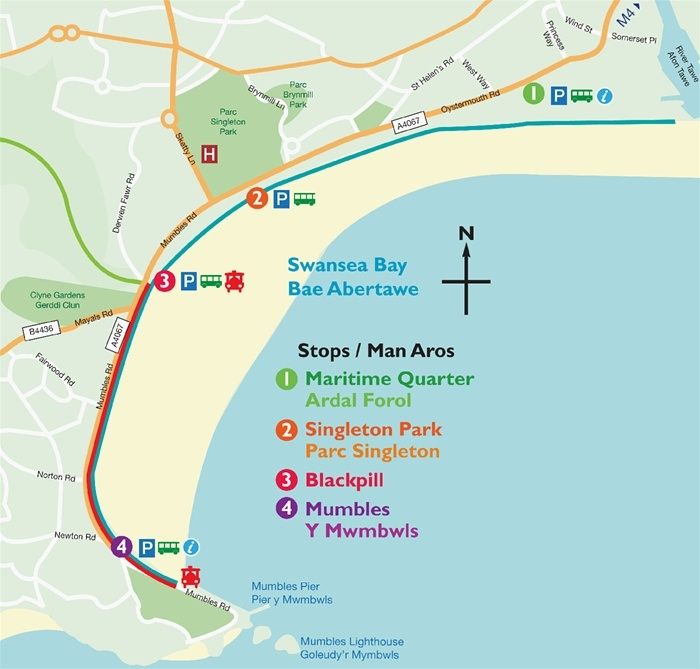Swansea Promenade stretches from the maritime quarter in Swansea all the way to Mumbles with year round activities and events along the way. Ideal for all the family whether on foot or on your bike.