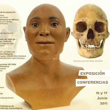 """Remains:  #Facial #reconstruction of ancient people of the Americas. Shown here, the """"Peñon Woman III.""""  Scientists believe that she died anywhere from 12,700 to 13,000 years ago, at the age of 27. Her #skull was found near Mexico City International Airport in 1959."""