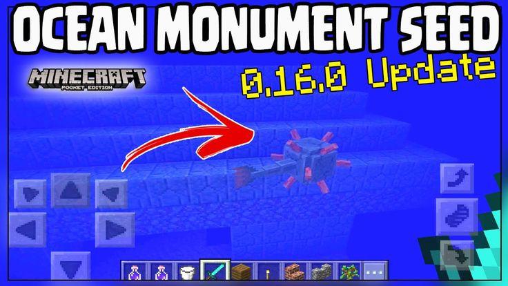 "Minecraft Pocket Edition 0.16.0 BEST ""OCEAN MONUMENT SEED"" MCPE BEST Ocean 0.16.0 Seed -Minecraft PE"