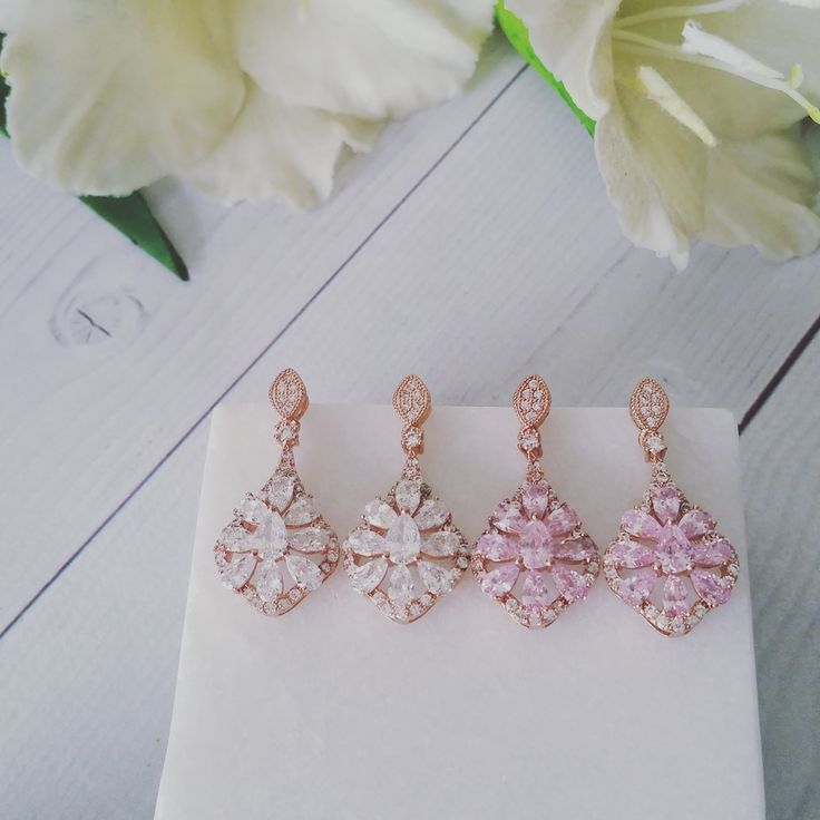 Bridal Earrings   Rose Gold Chandlier Earrings by LITTLE WHITE COUTURE