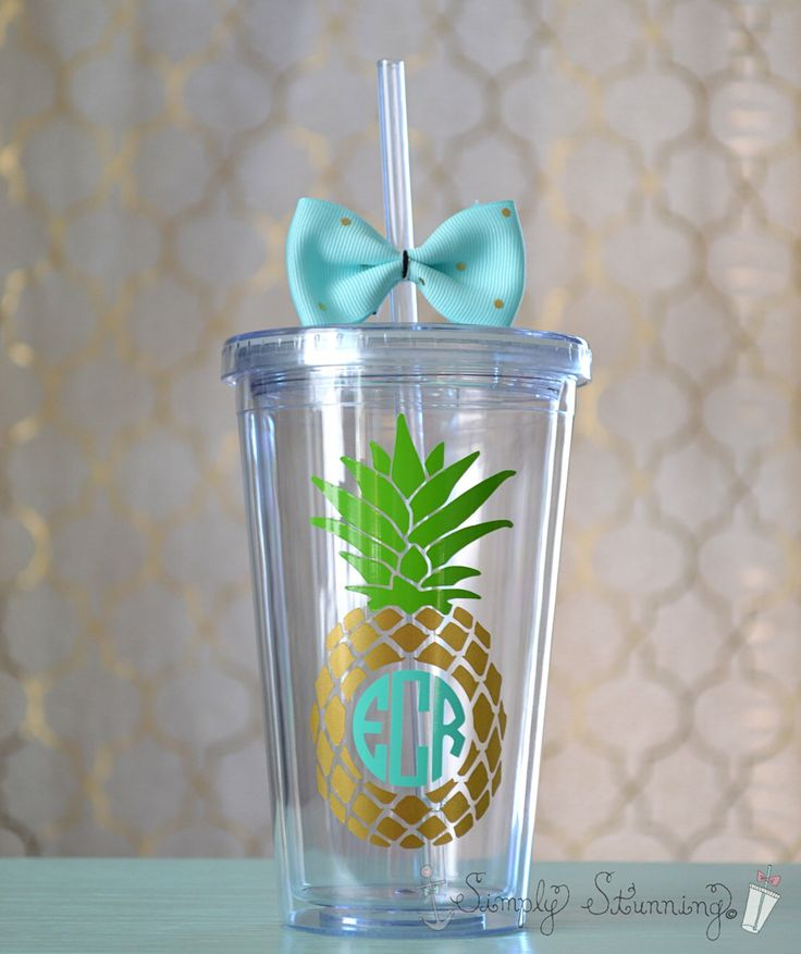 Monogrammed Pineapple Acrylic Tumbler. 16 ounce cups. by SimplyStunningSite on Etsy https://www.etsy.com/listing/262267016/monogrammed-pineapple-acrylic-tumbler-16