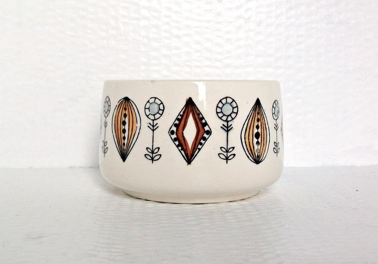 Mid Century Scandinavian Design Norwegian Vintage Ceramic Sugar Bowl Egersund Kitchenware. $23.00, via Etsy.