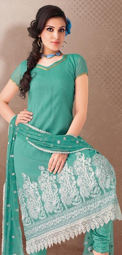 $65.03 Teal Blue Embroidery Cotton Churidar Salwar Kameez 23948