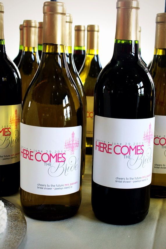Bridal Shower gift ideas---Personalzied Bridal Shower Wine Labels  Set of 6 by StudioBLabels, $16.99
