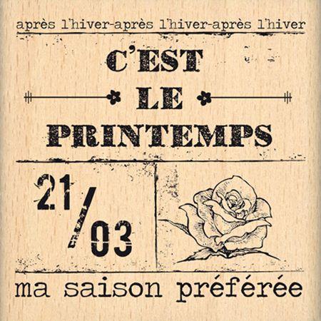 Tampon bois - C'est le Printemps - Ticket Printanier - 6,3 x 6 cm