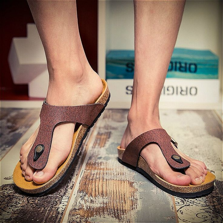 Europe United States 2018 summer new .  brand cork slippers sandals men beach me…