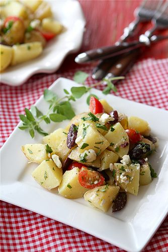 Greek Potato Salad Recipe with Feta Cheese, Kalamata Olives & Oregano Dressing | cookincanuck.com