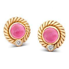 Rasvihar Chakravakam - These circular, 18-karat gold ear studs feature reddish-pink ruby cobs in a smooth bezel setting, closely hugged by a shining 'cord' of yellow gold. A small, round cut diamond adds its dainty, rainbow sparkle to the rich glow of the rubies.