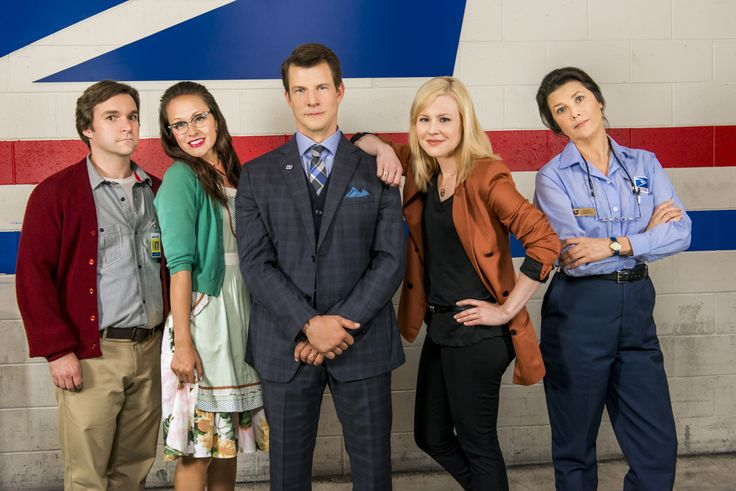 The Cast of Signed, Sealed, Delivered From left to right: Geoff Gustafson as Norman Crystal Lowe as Rita Eric Mabius as Oliver Kristin Booth as Shane Daphne Zuniga as Andrea © Crown Media United States, LLC