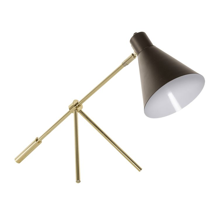 The Table Lamp by Bloomingville boasts a frame finish in brass, with a brown light shade. This beautiful light is the perfect compliment to a contemporary l