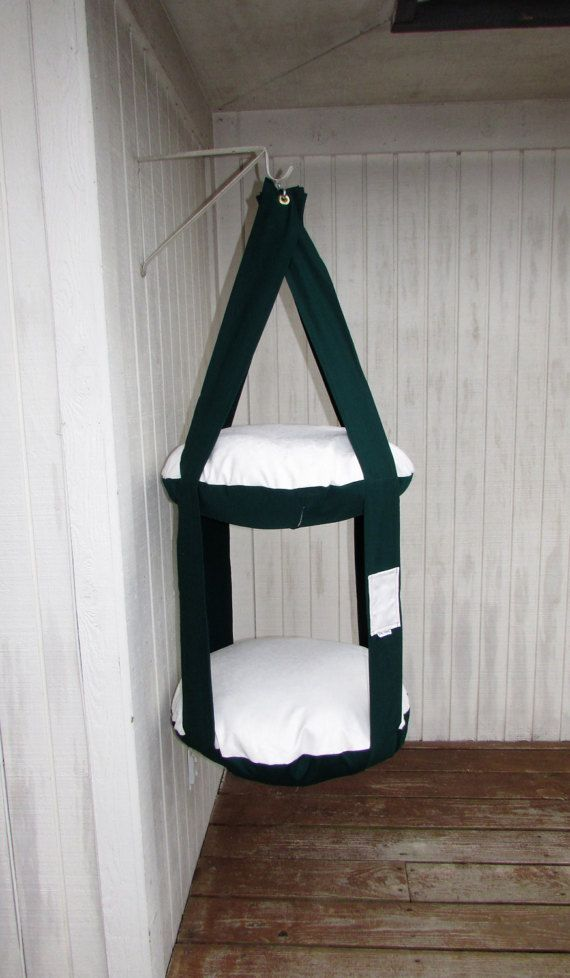 Outdoor Cat Bed, Forest Green & Embossed Ivory 2 Level Kitty Cloud Cat Bed, Hanging Cat Bed, Pet Furniture, Cat Tree, Indoor Outdoor Cat Bed