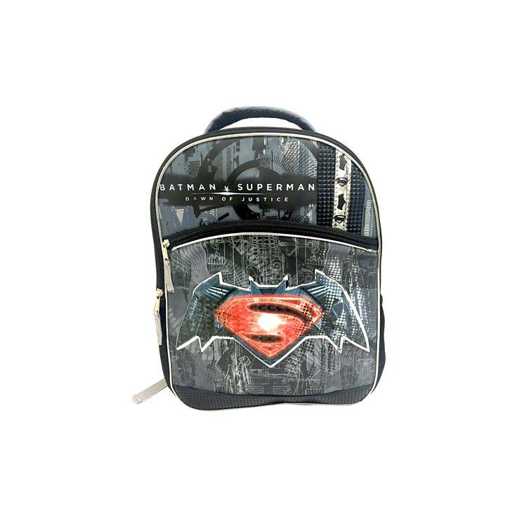 Warner Bros. Batman/Superman Logo Kids' Backpack, Blue Grey