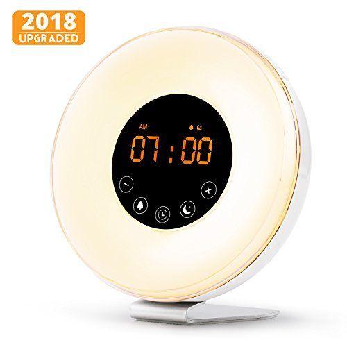 Wake Up Light Alarm Clock, Digital Sunrise Alarm Clock [2018 Upgraded] with Multi-Color LED Light, 6 Nature Sounds, FM Radio, Sunrise and Sunset Simulation Perfect for Bedside by NUTRIHOME
