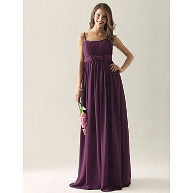 Empire Sheath/Column Spaghetti Straps Floor-length Chiffon Bridesmaid/ Wedding Party Dress – US$ 99.99