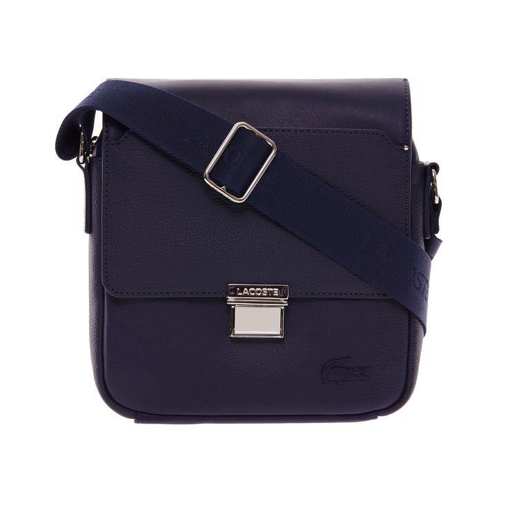 LACOSTE Men's Rafael Monochrome Leather Zip Crossover Bag - peacoat. #lacoste #bags #leather #