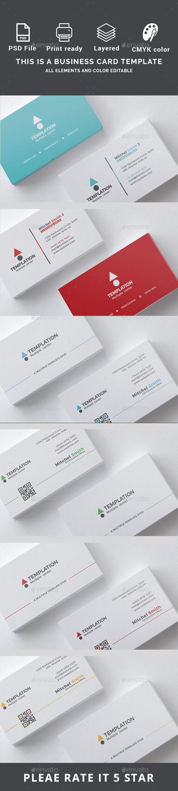 #Business #card - Business Cards Print Templates Download here: https://graphicriver.net/item/business-card-bundle/20008230?ref=alena994