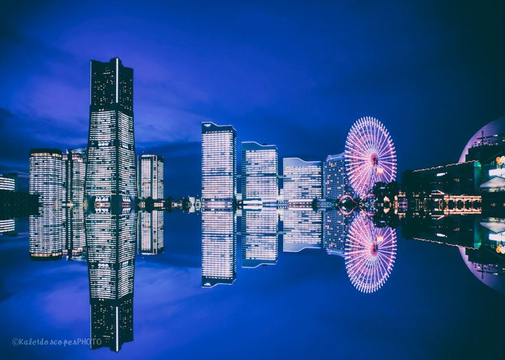 Yokohama cityscape photography,original fine art print Japan photo sunset picture evening wall art mirror artwork reflect print décor art by KaleidoscopesPHOTO2 on Etsy