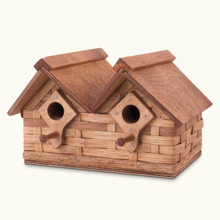 Unique Double Unit Amish Wicker Bird House: Wooden Cottage Design #woodenbirdhouses