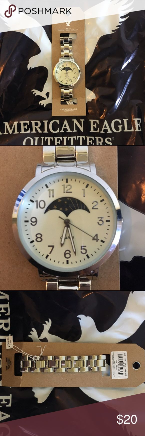 """American Eagle Outfitters silver sun & moon watch Brand new American Eagle sun and moon watch.  I believe it is a unisex style. 1.5"""" across Face. The sun and moon change places depending on the time of day. American Eagle Outfitters Accessories Watches"""