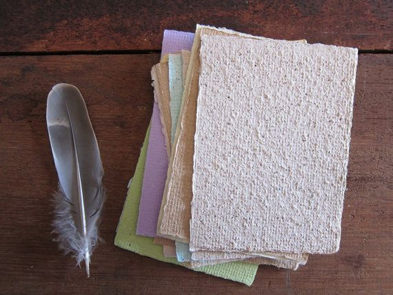 16 Handmade Recycled paper sheets Notepaper by marigoldmountain