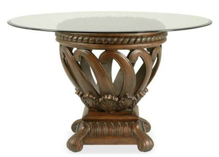 Agreeable Round Glass Top Dining Tables With Wood Base