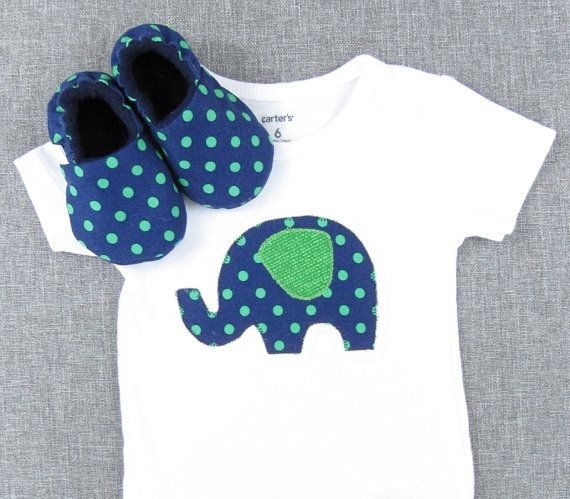 New Baby Gift Set- baby clothes shoes baby outfit infant clothing booties infant clothes newborn outfit, Elephant- Navy w/ Green Dots