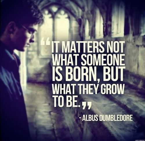 """It matters not what someone is born, but what they grow to be."" ~Albus Dumbledore"