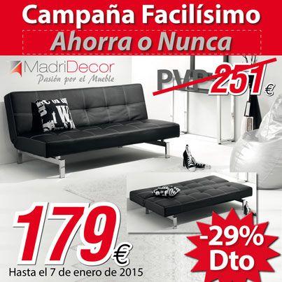 ¡¡Sofá cama en piel por 179€!! Promoción válida hasta el 31/01/15