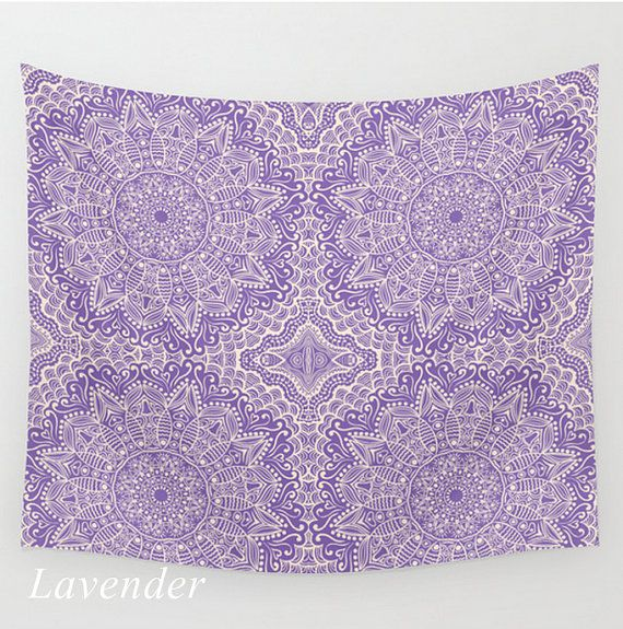 Wall Tapestry Mandala Pattern Lavender or Royal Purple Boho Bohemian India Indian Dorm Room Home Bedroom Decor