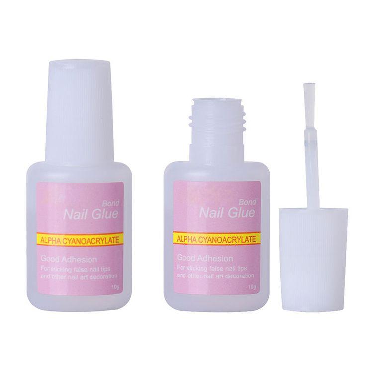1 Pcs 10g False Glue Nail Art Tips Glitter Acrylic Decoration with Brush False Nail Gel Glue Fake Nails Nail Label