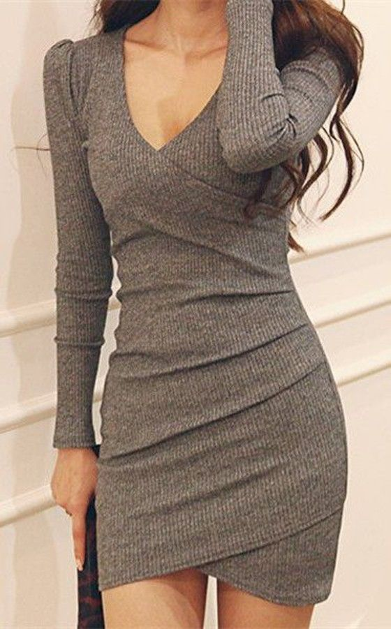 Grey Plain Long Sleeve Casual Polyester Mini Dress