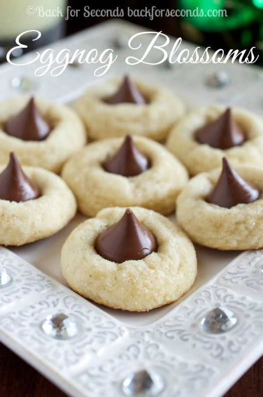 Eggnog Cookies with Hershey Kisses - a new soft and chewy christmas cookie tradition!