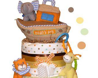 Gâteau de couches arche de Noé - maîtresse de douche de bébé et un cadeau