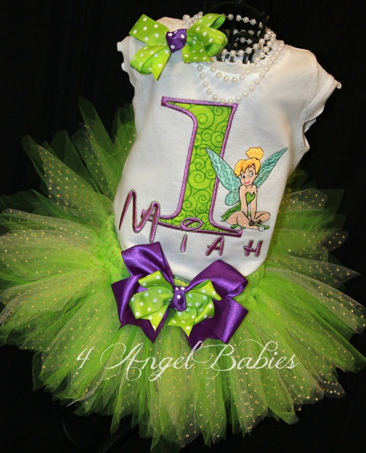 TINKERBELL Girls Birthday Tutu Outfit with Purple & Lime Green. Includes tutu, shirt, top or onesie and hair piece.
