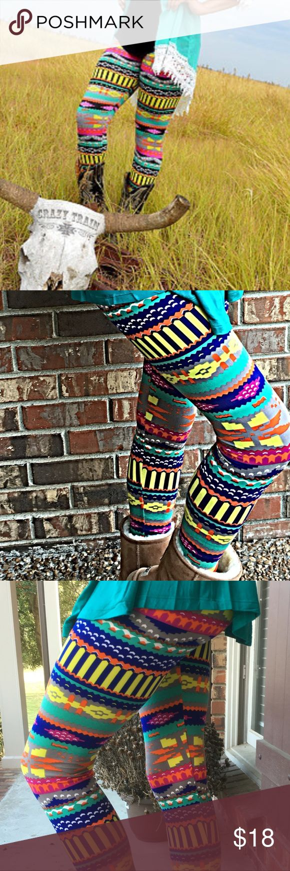 Tribal print leggings. Multi colored tribal print leggings.  Buttery soft  stretchy OFM. 0-12  92% polyester 8% spandex  Never fade color Pants Leggings