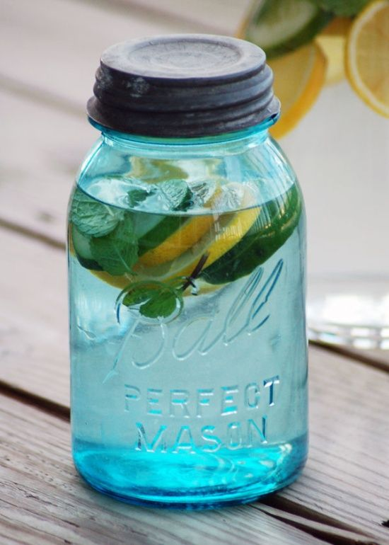 Detox Water - Helps you maintain a flat belly. 2 lemons, 1/2 cucumber, 12 mint leaves, and 3 quarts water. Fuse overnight and creates a natural detox helping to flush impurities out of your system.