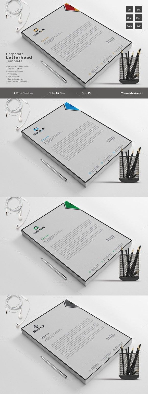 Corporate Letterhead Template Word. Stationery Templates