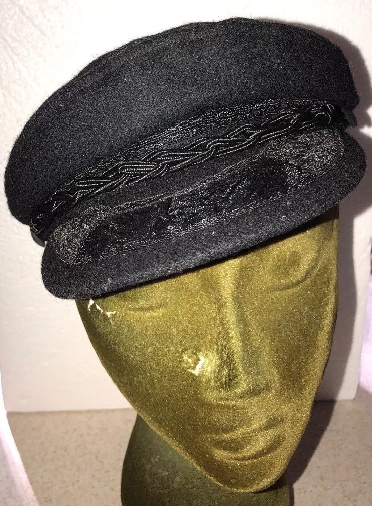 Greek Fisherman s Wool Hat Cap Black Captain Size 7-1 8 EU 57 Made in Greece  vtg  e6d9d2ddd527