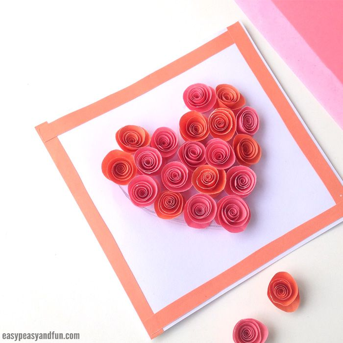 Rose Filled Heart Card With Images Valentine Crafts For Kids