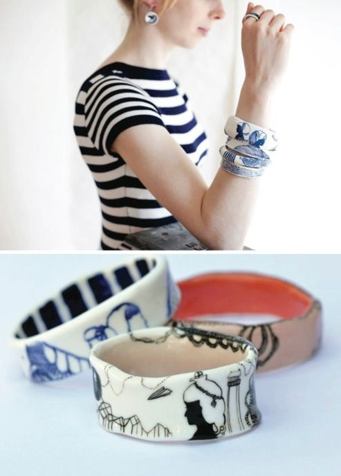 porcelain bangle - These creations come from the hands of a duo Abby Seymour and Katherine Wheeler in Melbourne, Australia. Together they are Golden Ink.