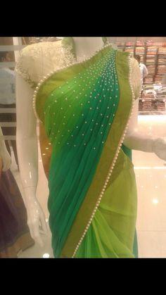 Pearl work on saree