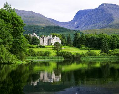 """Inverlochy Castle, Fort William, Highlands, Scotland.   """"I never saw a lovelier or more romantic spot."""" -Queen Victoria, 1873"""